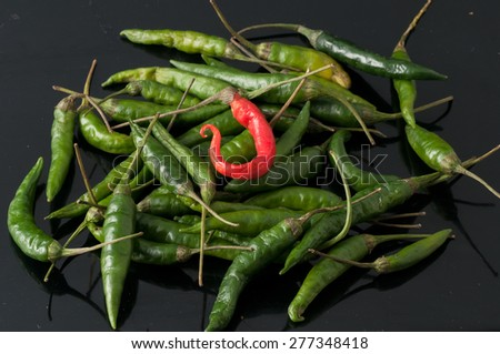 green chili peppers and red - stock photo