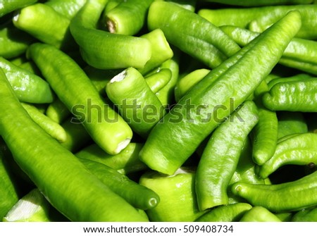 Green chili peppers sold in a greengrocery