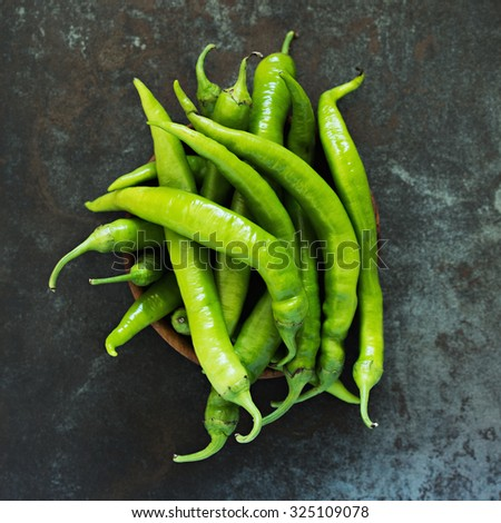 Green Chili Peppers. Turkish Sivri Peppers.