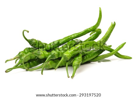 Green chilli peppers - stock photo