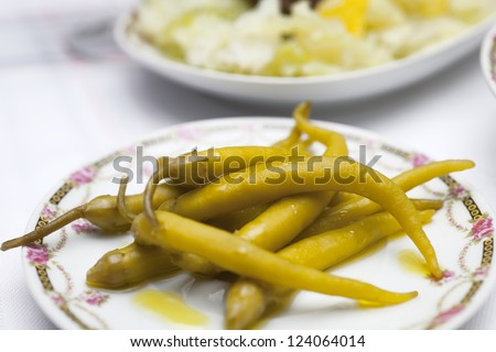 green chillies in the dish - stock photo