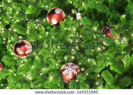 Green Chirstmas tree with Ball and light for winter season. - stock photo