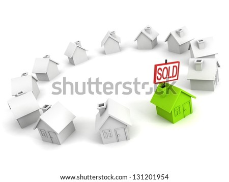 green choice house with SOLD label in other row - stock photo