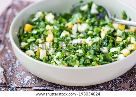 Green chopped eggs salad with parsley, ramson, spring onion, summer dish - stock photo