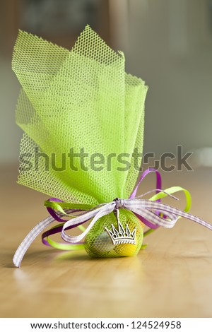 Green Christening Favor. - stock photo