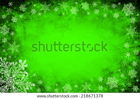 Green christmas background with snowflakes - stock photo
