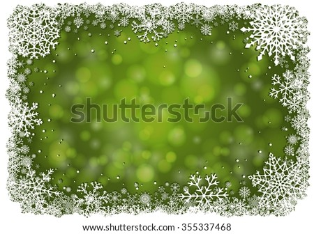 Green Christmas background with white frame of snowflakes. Winter Christmas  illustration with copy-space. Raster illustration. - stock photo