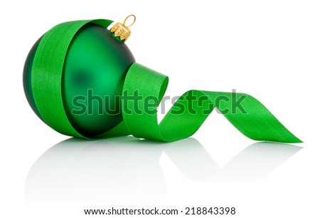 Green Christmas ball covered with curled ribbon Isolated on white background - stock photo