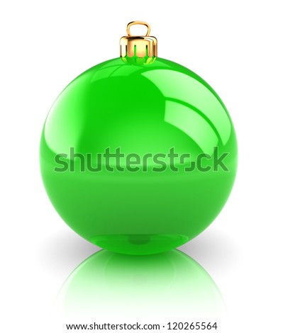 Green christmas ball isolated on white background, 3d image