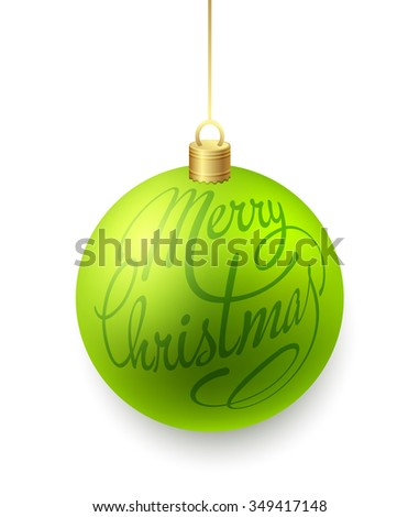 Green Christmas balls isolated on white background with Merry Christmas lettering. Raster copy - stock photo