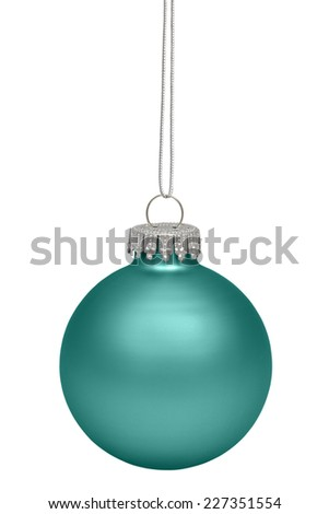 Green christmas bauble isolated on white background - stock photo
