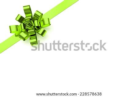 Green christmas bow - stock photo