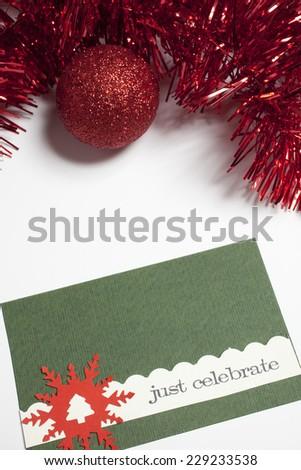 green christmas card - stock photo