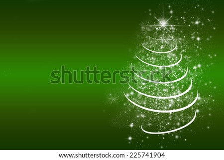 green christmas card background with empty text space - stock photo