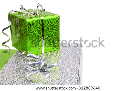 Green Christmas gift boxes on white background. copy space - stock photo
