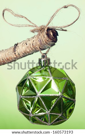 Green Christmas ornament hanging  on a tree branch.