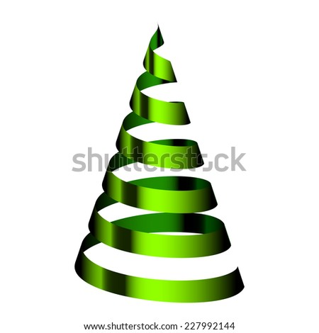 Green Christmas tree from ribbon - stock photo