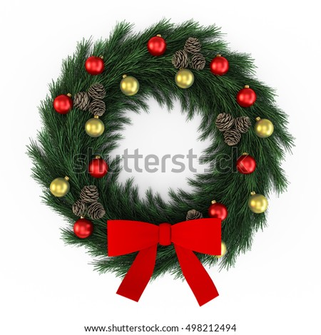 Green christmas wreath with decorations branch and ball toys isolated on white background. 3D Rendering, Illustration.
