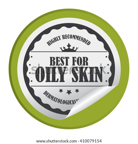 Green Circle Best For Oily Skin Highly Recommended Dermatologically Tested - Product Label, Campaign Promotion Infographics Flat Icon, Peeling Sticker, Sign Isolated on White Background  - stock photo