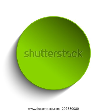 Green Circle Button on White Background - stock photo