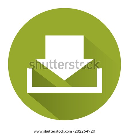 Green Circle Download Long Shadow Style Icon, Label, Sticker, Sign or Banner Isolated on White Background - stock photo