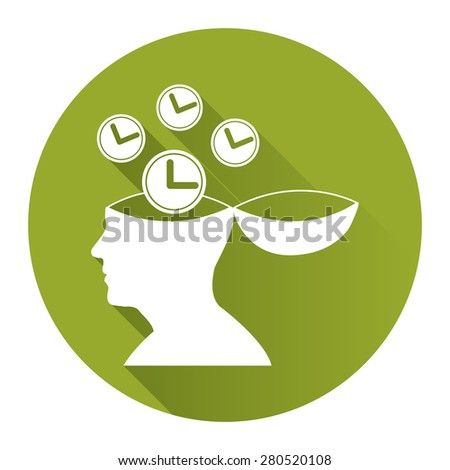 Green Circle Head With Clock, Time Saving, Time Management Flat Long Shadow Style Icon, Label, Sticker, Sign or Banner Isolated on White Background - stock photo