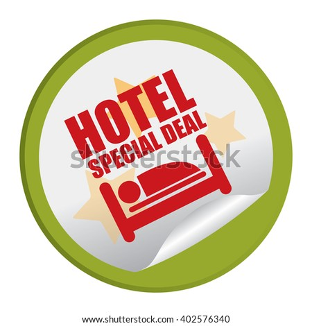 Green Circle Hotel Special Deal Product Label, Campaign Promotion Infographics Flat Icon, Peeling Sticker, Sign Isolated on White Background