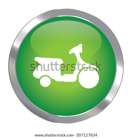 Green Circle Metallic Motorbike or Scooter Infographics Icon, Sign or Symbol Isolated on White Background  - stock photo