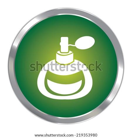 Green Circle Metallic Perfume or Fragrance Spray Icon or Button Isolated on White Background  - stock photo