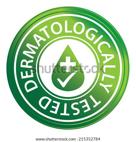 Green Circle Metallic Style Dermatologically Tested Icon, Sticker or Label Isolated on White Background  - stock photo