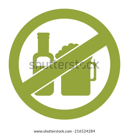 Green Circle No Alcohol Prohibited Sign, Icon or Label Isolate on White Background  - stock photo
