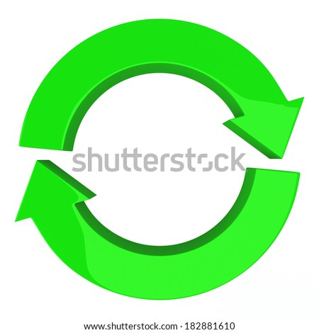 Green circle of two arrows, symbol of recycle, refresh and reload, 3d illustration - stock photo