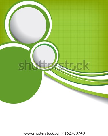 green circle on green wave background - flyer design