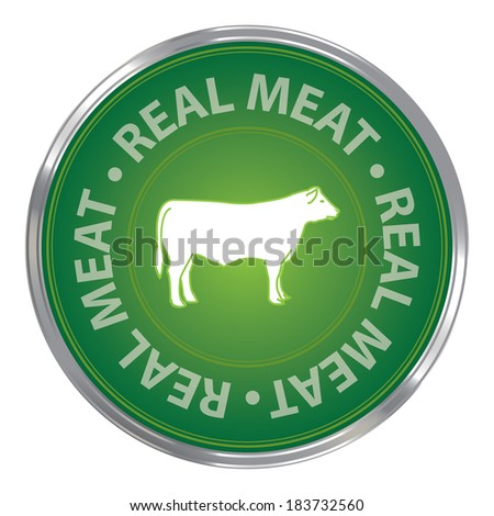 Green Circle Real Meat Icon, Sticker or Label For Livestock, Restaurant, Food or Butchery Business Isolated on White Background