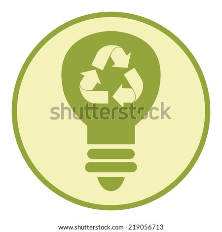 Green Circle Recycle Light Bulb Retro Icon, Button or Label Isolated on White Background