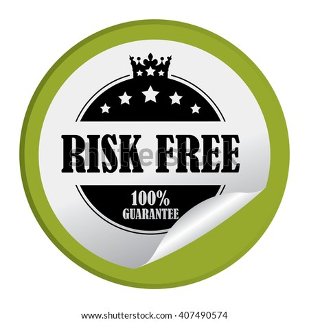 Green Circle Risk Free 100% Guarantee Product Label, Campaign Promotion Infographics Flat Icon, Peeling Sticker, Sign Isolated on White Background  - stock photo