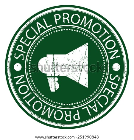 Green Circle Special Promotion Grunge Sticker, Rubber Stamp, Icon, Tag or Label Isolated on White Background - stock photo