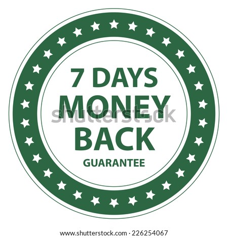Green Circle Vintage Style 7 Days Money Back Guarantee Icon, Sticker or Label Isolated on White Background