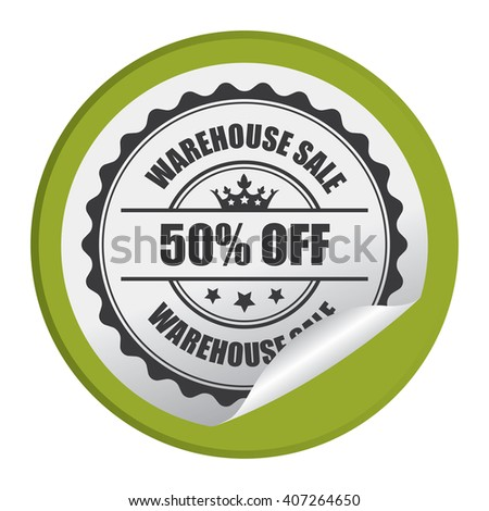 Green Circle Warehouse Sale 50% Off Product Label, Campaign Promotion Infographics Flat Icon, Peeling Sticker, Sign Isolated on White Background  - stock photo