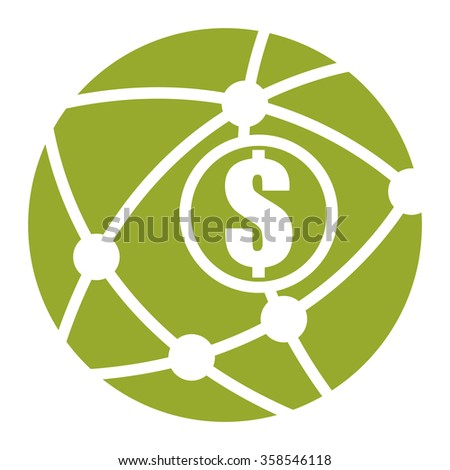 Green Circle Worldwide, Business Connection Infographics Flat Icon, Sign Isolated on White Background  - stock photo