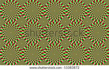 green circles forming optical effect