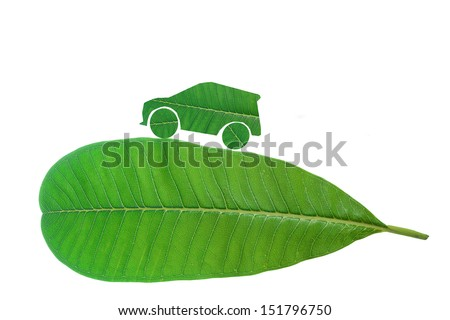 green city car with green concept - stock photo