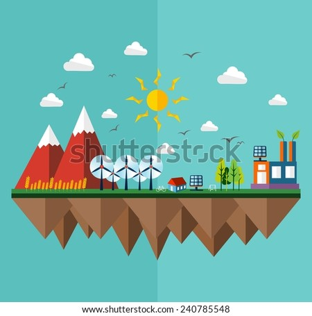Green city concept illustration in flat style design. Ideas for ecology brochure, book cover and print poster. - stock photo