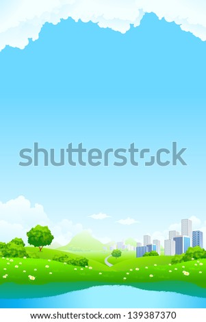 Green City Landscape with road lake mountain and flowers - stock photo