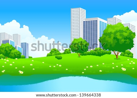 Green City Landscape with tree lake and flowers - stock photo