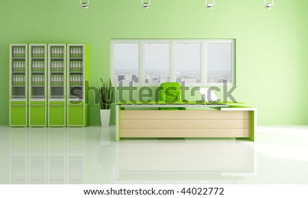 green city office space - rendering - the image on background is a my photo - new york - stock photo