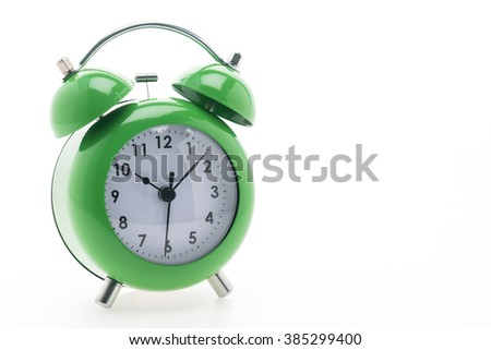 Green Classic Alarm clock isolated on white background