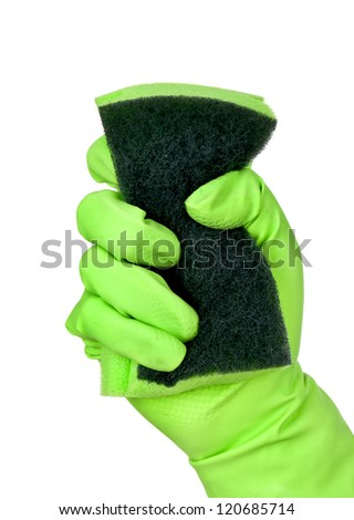 Green cleaning glove - stock photo