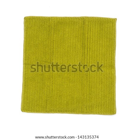 Green cleaning rag isolated on white - stock photo