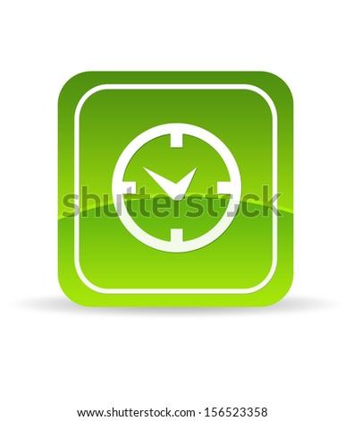 Green clock Icon - stock photo